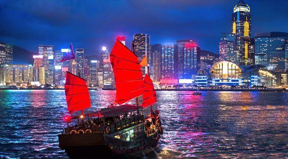 100万ドル夜景を望む、香港。
