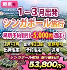 【東京発シンガポール】-5,000円割引適応ツアー