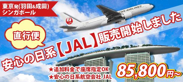 大人気日系【JAL】利用 シンガポールまでラクラク直行便♪