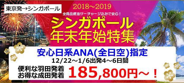 東京発シンガポール|年末年始!早い者勝ち!日系ANA(全日空)指定プラン!